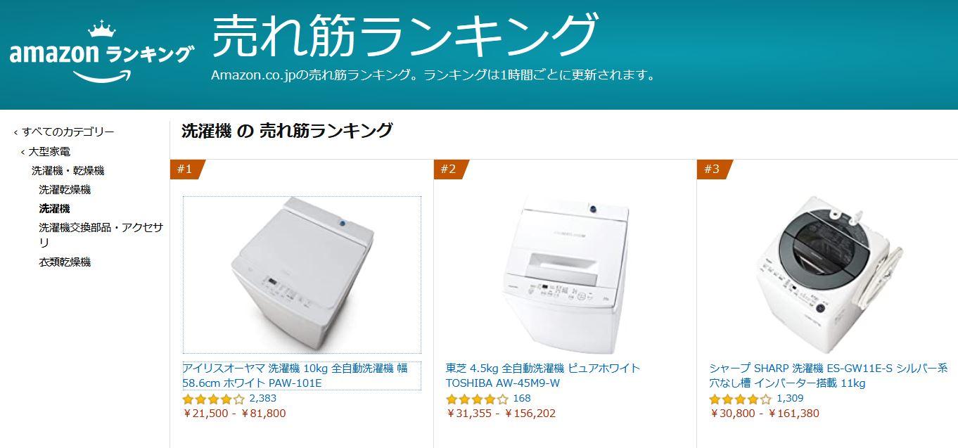 2021年 アマゾン ランキング  おすすめ 洗濯機